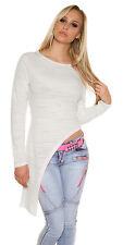 Sexy langarm Shirt Pullover Oberteil asymmetrisch Weiß meliert Gr 34 36 38