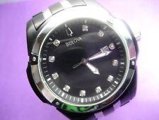 BULOVA 98D116 MEN'S CASUAL WATCH 11 REAL DIAMONDS S/S CASE ANALOG/ DAY/DATE