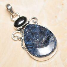 "Handmade Russian Seraphinite Gemstone 925 Sterling Silver Pendant 2.25"" #P17023"