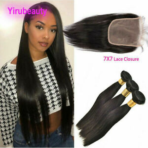 3BUNDLES+7X7 WIDER LACE CLOSURE PERUVIAN VIRGIN STAIGHT HAIR 16+18+20&14 CLOSURE