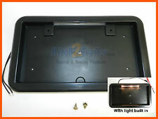 BLACK LICENSE PLATE HOLDER BRACKET W/ LIGHT TRAILER RV CAMPER UTILITY CARGO ABS
