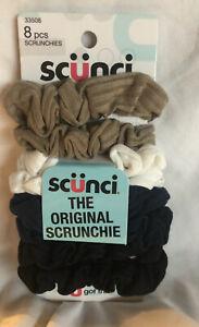 Scunci The Original Scrunchie Pack of 8 Black, Blue,Brown,White