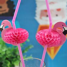 10PCS 3D Flamingo Pink  Plastic Umbrella  Drinking Straws Party Cocktail Decor