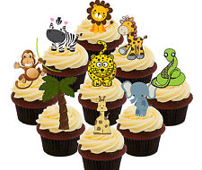 Jungle / Zoo Animals, 36 Edible Cupcake Toppers Kids, Standup Fairy Cake Bun