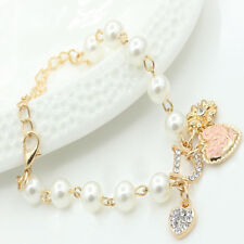 Ladies Girls Heart Flower Rhinestone Letter D Word Pearl Bracelet Gift