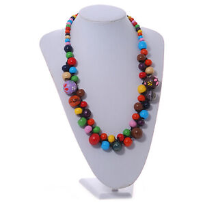 Round Wooden Bead Cluster Necklace in Multicoloured/ 60cm Long