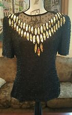 Stenay Vtg Womens M/Silk Jacket Sequins Beads Dress Top Cocktail Trophy