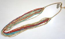 NWT $69 Chico's Nyssa Multi Strand Necklace; Red, Turquoise & Gold-Tone Strands