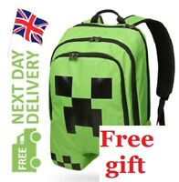 Minecraft Back Pack Bag Backpack boys creeper green school camping  FREE GIFT