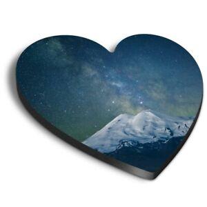 Heart MDF Magnets - Milky Way Mountain Scene Ski  #3494
