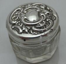 Antique Solid Silver Topped Small Glass Pot Babies First Curl or Tooth Pot (VGY)