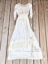 Antique Edwardian 1910s Beaded Silk Lace Wedding Gown