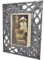 Antique Art Nouveau HEAVY Pewter Bronze Picture Photo Frame