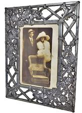 Antique Art Nouveau HEAVY Pewter Bronze Picture Photo Frame