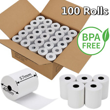 More details for 100 rolls 57x40 thermal rolls cash credit card machine receipt paper till roll