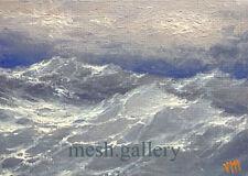 ORIGINAL ACEO OIL PAINTING MESH ART SEASCAPE Pacific Ocean Storm Typhoon Wave