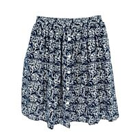 Orvis Skirt Womens Size L Blue White Floral 100% Cotton No Iron Buttons Stretchy