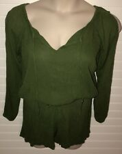 Steve Madden Romper Jumpsuit size S Long Sleeve Cold Shoulder Olive Green Cotton