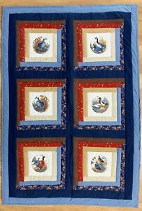 "Handmade Quilt Lap Blanket Wildlife Birds Geese Turkey  Blue Red 45"" x 68""  NEW"