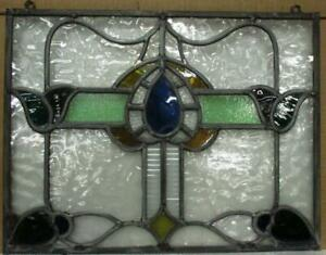 """OLD ENGLISH LEADED STAINED GLASS WINDOW Unframed w Hooks Floral 17.75"""" x 13.75"""""""