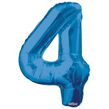 """Large Jumbo Blue Metallic Number 4 Foil Helium Balloon 34""""/87cm (Not Inflated)"""