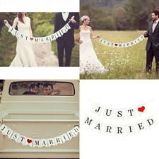 Just Married Garland Wedding Banner Car Bunting Western Venue Party Decor DIY