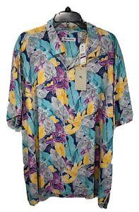 TOMMY BAHAMA Big Men's Multicolor S/S 100% Silk Button-Up Hawaiian Shirt sz XXL