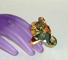 Gorgeous New Elephant Head Ring Pave Austrian Crystals & Enamel sz 7.5