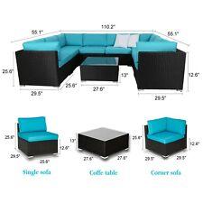 Patio Sofa 9 PC Furniture Garden Outdoor PE Rattan Poolside Yard Sectional Set