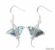 925 Sterling Silver Hawaiian Stingray Fish Abalone Shell Paua Wire Hook Earrings