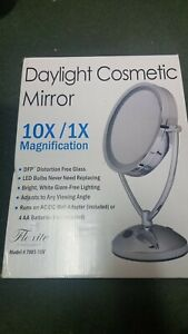 Floxite Daytime Cosmetic Mirror- 10 x magnification and 1 x- lighted A.C or batt