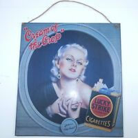 Vintage Jean Harlow Cream Of The Crop Lucky Strike Cigarette Tin Ad Sign 13 x 13