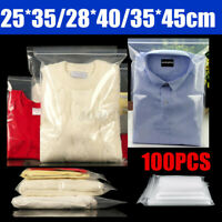 100PCS Large Clear Grip Lock Plastic Resealable Packing Storage Seal Clothse Bag