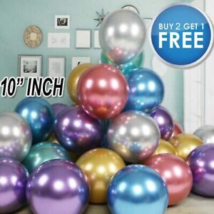 "50 PCS CHROME BALLOONS METALLIC LATEX PEARL 10"" Helium Balloon Wedding Party UK"