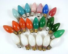 22 Vintage C9 Christmas Light Bulbs White Green Pink Red Blue Orange GE Tested