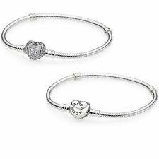 Beautiful Pandora Pave Heart 100% Sterling Silver Snake Chain Bracelet W/Pouch
