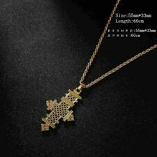 Women Cross Pendant Charms Chain Necklaces Trendy Pure Gold Color Jewelry Making