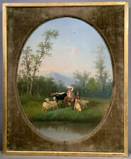 Lg 19thC Antique Victorian Era Lady Sheep & Cow Pastoral Landscape Old Painting