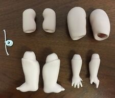 Doll Body Parts 258 Leg Arm Hand Feet Ceramic Porcelain Blank Grn7