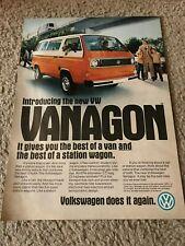 Vintage 1980 VOLKSWAGEN VW VANAGON BUS CAR Print Ad 1980s STATION WAGON RARE