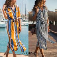 Women Summer Stripe Boho Party Evening Beach Dresses Long Maxi Dress Sundress US