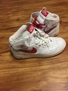 Vintage Air Force 1 Mid White/Red Size 10