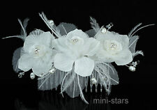 Bridal Fascinator Feather Ivory Fabric Flower Handmade Hair Comb AT1393