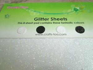 2 x Packs of 8 x Glitter Sheets - Black & White 22 x 14 cm - Acid Free