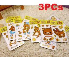 FD5145 Rilakkuma San-X Relax Bears Stickers For Home Stationery Moblie 3PCs ✿