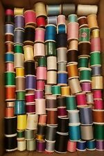 Lot 127 Spools Vintage Sewing Thread, Some Wood, Mixed Brands, Many Colors