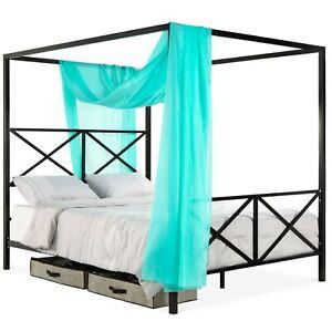 Queen Bed Frame with Headboard Footboard Canopy Black Metal Bedroom New