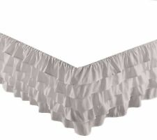 "Chezmoi Collection Ella Waterfall Ruffle 15"" Drop Bed-skirt Twin Size, Gray"