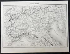 1835 Thiers Original Antique Map of Northern Italy, Istra, Alps Florence to Alps