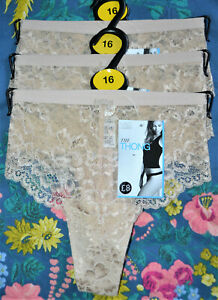 LADIES M&S BUTTERFLY FLORAL LACE THONG KNICKERS 3 PAIR SIZE 16 ALMOND - BNWT